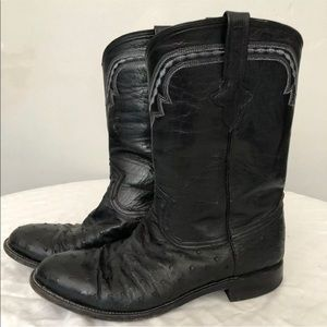 Ferrini Black Full Quill Ostrich Leather Boots